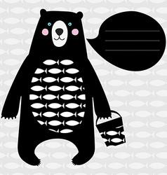 Card with black bear vector