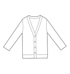 Cardigan fashion flat technical drawing template vector