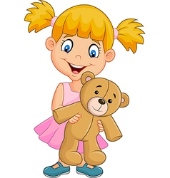 Cartoon little girl playing with teddy bear vector