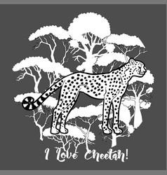 Cheetah and savanna trees print vector