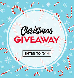 Christmas giveaway template with candy canes vector