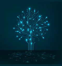 circuit tree on blue background science and vector image