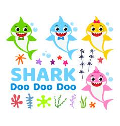 Collection of cute baby shark cartoon vector