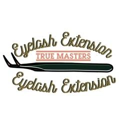 Color vintage eyelash extension emblem vector