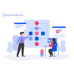 computer algorithm concept modern flat design vector image
