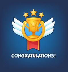 congratulations golden winner cup banner vector image