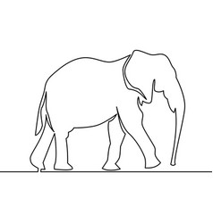 continuous line elephant walking symbol vector image