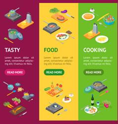 cooking or preparation food banner vecrtical set vector image