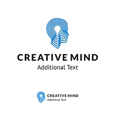 Creative logo with man head and lamp vector