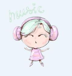 Cute cartoon girl with headphones is listening to vector