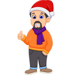 cute man cartoon wearing winter clothes thumb up vector image