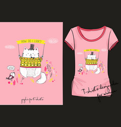 Cute t-shirt with cat and bird vector
