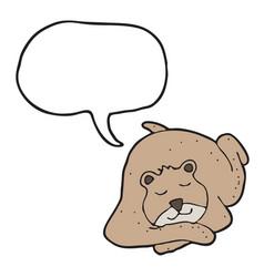 digitally drawn bear and speech bubble design vector image