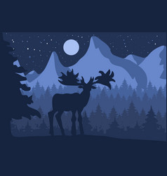 Elk in the night coniferous forest vector