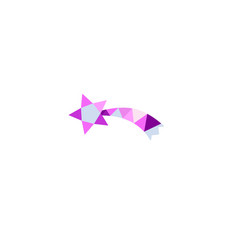 falling star icon in low poly style vector image