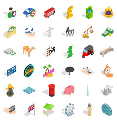 Flag icons set isometric style vector