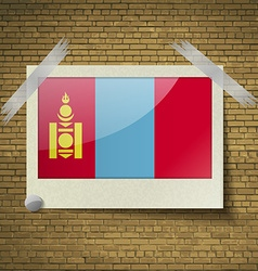 Flags Mongoliaat frame on a brick background vector image vector image