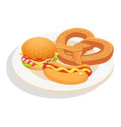 Fresh fast food on plate icon isometric style vector