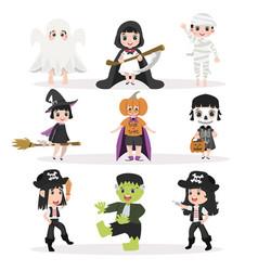 funny kid halloween character set vector image