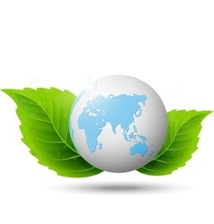 Globe and green leaf vector image