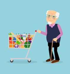 grandfather with shopping cart with groceries vector image