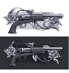 Graphic detailed old revolvers set with roses vector