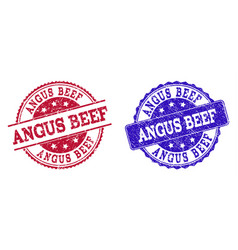 Grunge scratched angus beef seal stamps vector