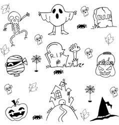 Halloween ghost pumpkins tomb costume doodle vector
