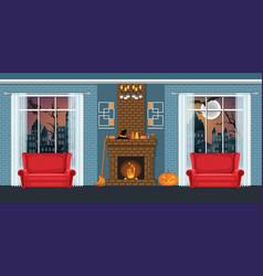 Halloween party in cozy living room interior vector