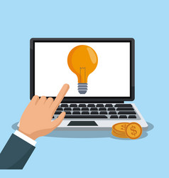 hand using laptop to make money vector image