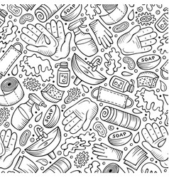 Hand wash hand drawn doodles seamless pattern vector