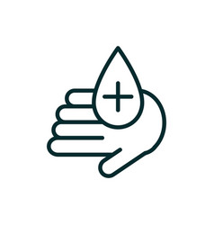 hand with drop blood donation medical icon line vector image