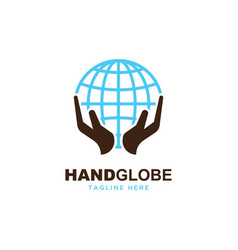 hand with globe logo vector image