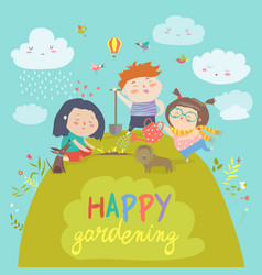 Happy children gardening vector