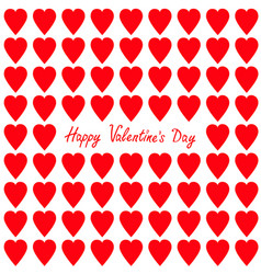 happy valentines day greeting card red heart set vector image