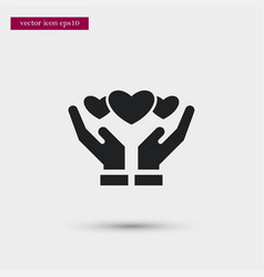 hearts on hands icon simple love valentine sign vector image