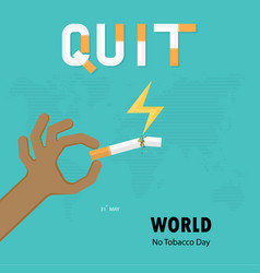 Human hands and broken cigarette icon with quit vector