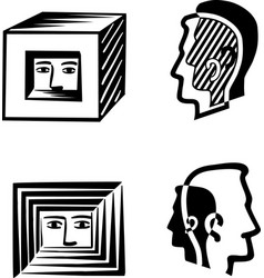 Human head in a square or split in their shadow vector