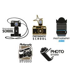 Icons camera film for photo studio school vector