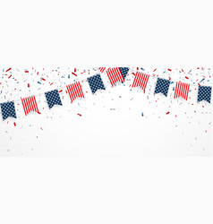 Independence day of america with confetti and ribb vector