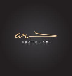 Initial letter ar logo - hand drawn signature logo vector