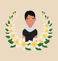Islamic woman with traditional burka and floral vector