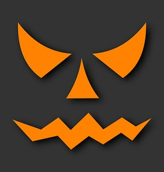 Jack o lantern pumpkin faces glowing on black vector image