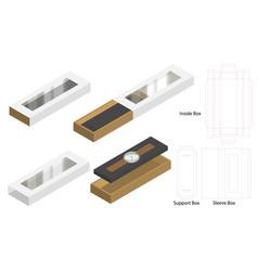 Luxury watch sleeve box mockup dieline template vector