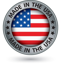 Made in usa silver label vector