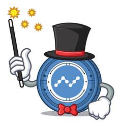 Magician nano coin mascot cartoon vector
