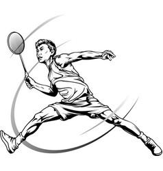 Male badminton player vector