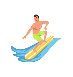 Male surfer on surf board water sport activity vector