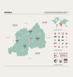 map rwanda country map with division cities vector image