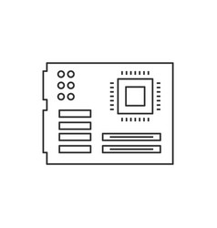mother board linear icon on white background vector image